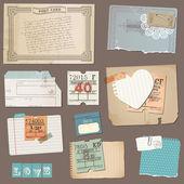 Eski kağıt nesneleri - tasarım ve vektör scrapbook ayarla — Stok Vektör
