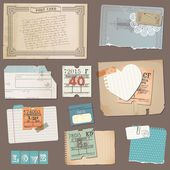 Set of Old paper objects - for design and scrapbook in vector — Stok Vektör