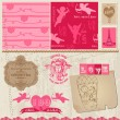 Scrapbook Design Elements - Love Set - for cards, invitation, gr - Stock Vector