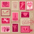 Vintage Love Valentine Stamps - for design, invitation, scrapboo - Stok Vektör