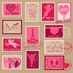 Vintage sevgi Sevgiliye pullar - tasarım, davetiye, scrapboo — Stok Vektör