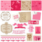 Conjunto de elementos de design scrapbook - amor - para cartões, convite, gr — Vetorial Stock