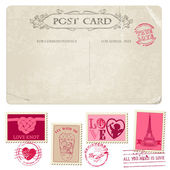 Vintage Postcard and Postage Stamps - for wedding design, invita — Stock Vector
