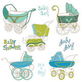 Baby Carriage Set - for your design and scrapbook in vector — Stock Vector