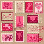 Vintage Love Valentine Stamps - for design, invitation, scrapboo — ストックベクタ