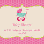 Baby Girl Shower and Arrival Card - with place for your text in — Stock Vector
