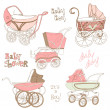 Baby Carriage Set - for your design and scrapbook in vector — Stock Vector #17047587