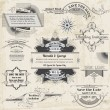 Wedding Vintage Invitation Collection - for design, scrapbook - - Векторная иллюстрация