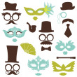 Vector de stock : Retro Party set - Glasses, hats, lips, mustaches, masks - for de