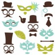 Retro Party set - Glasses, hats, lips, mustaches, masks - for de — Stok Vektör