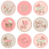 Baby Girl Shower Party Set - for your design and scrapbook in ve — Stock Vector