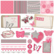 Scrapbook Design Elements - Vintage Lace Butterflies - in vector - Stock Vector
