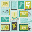 图库矢量图片: Vintage Love Valentine Stamps - for design, invitation, scrapboo