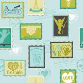 Valentine Stamps Love Background - for design, invitation, scrap — Stock Vector