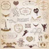 Conjunto vintage valentines — Vetorial Stock