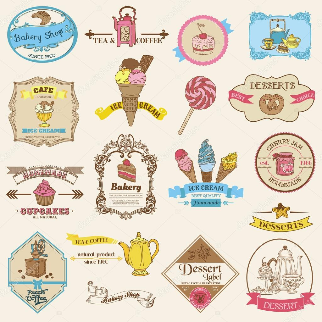 Vintage Bakery and Dessert labels - for design and scrapbook — Stock ...