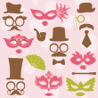 Wektor stockowy : Retro Party set - Glasses, hats, lips, mustaches, masks - for de
