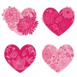 Set of Flower Hearts - for scrapbook and design - in vector — Stock Vector