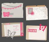 Set of Vintage Papers - for design or scrapbook - in vector — Stock Vector