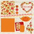 Scrapbook Design Elements - Orange Flowers and Poppies in vector - Stock Vector