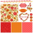 Scrapbook Design Elements - Orange Flowers and Poppies in vector — Stock Vector #18735803