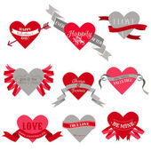 Valentine's Day Heart Labels — Stock Vector
