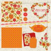Notatnik projekt elementów - pomarańczowe kwiaty i maki w wektor — Wektor stockowy