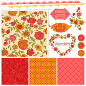 Scrapbook Design Elements - Orange Flowers and Poppies in vector — Cтоковый вектор