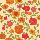 Seamless Vintage Flower Background - for design and scrapbook - — ストックベクタ
