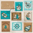 Vector Set of Retro SEA POST Stamps - High Quality - for design — Stock Vector