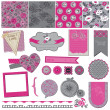 fiore d'epoca seamless sfondo set-per design e scrapbook — Vettoriale Stock