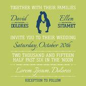 Cartão de convite de casamento - beijando o tema do casal - vetor — Vetorial Stock