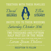 Wedding Invitation Card - Kissing Couple Theme - in vector — Stok Vektör