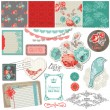 Scrapbook Design Elements - Vintage Roses and Birds - in vector — Stok Vektör