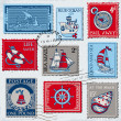 Royalty-Free Stock Vector Image: Vector Set of Retro SEA POST Stamps - High Quality -  for design