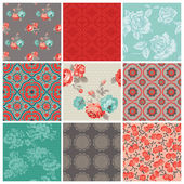 Seamless Vintage Flower Background Set- for design and scrapbook — Stock Vector
