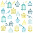 Birds and Birdcages Background - for design or scrapbook - in ve - Stock Vector