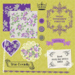 Scrapbook Design Elements - Vintage Violet Roses  - in vector — 图库矢量图片
