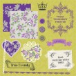 Scrapbook Design Elements - Vintage Violet Roses  - in vector — Vektorgrafik