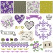 Scrapbook Design Elements - Vintage Violet Roses  - in vector - Векторная иллюстрация