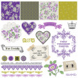 Stock Vector: Scrapbook Design Elements - Vintage Violet Roses - in vector