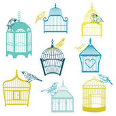 Birds and Birdcages Collection - for design or scrapbook — Stock Vector