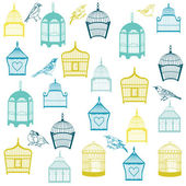 Birds and Birdcages Background - for design or scrapbook - in ve — Stock Vector