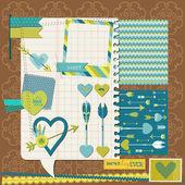 Elementy projektu notatnik - miłość, serce i strzałki - projekt — Wektor stockowy