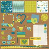 Scrapbook ontwerpelementen - liefde, hart en pijlen - voor ontwerp — Stockvector