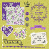 Scrapbook - vintage violet rosen - design-elemente in vektor — Stockvektor