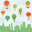 Royalty-Free Stock Vector Image: Cute Air Balloons Background - for design and scrapbook - in vec