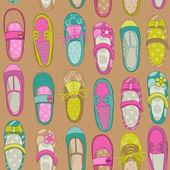 Baby Girl Shoes Background - for design or scrapbook - in vector — Stock Vector