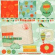 Scrapbook Design Elements - Cute Air Balloons and Clouds - in ve — Vettoriali Stock