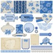 Scrapbook Design Elements - Vintage Blue Flowers - in vector — Stock vektor